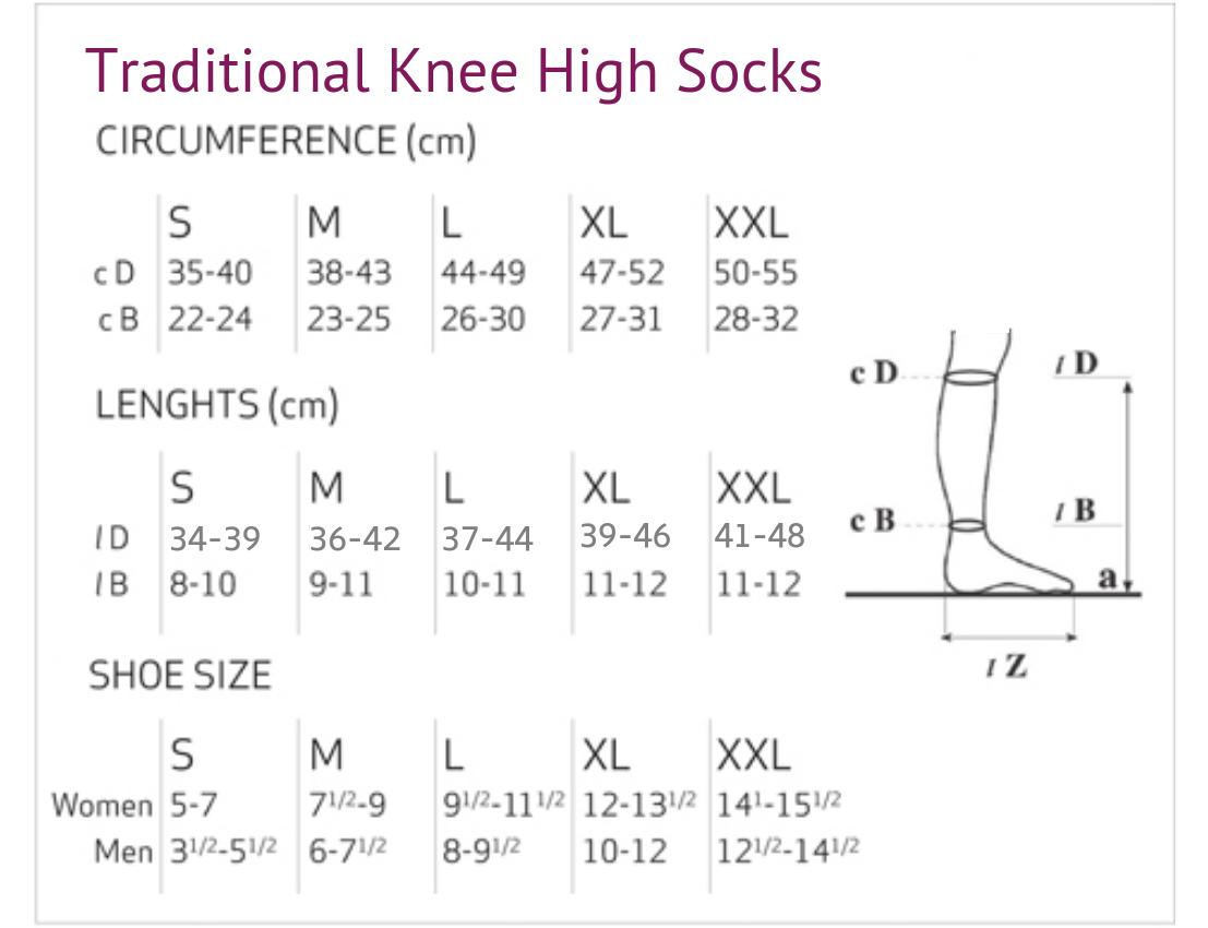 Solidea Relax 25/32 mmHg Knee High Size Chart