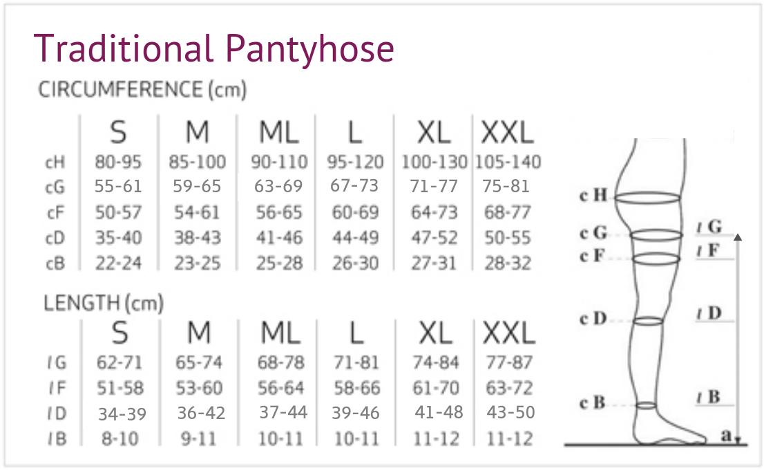 Solidea Wonder Model Compression Pantyhose Size Chart
