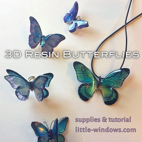 resin jewelry butterfly 3D Clear Photo Film Blue Purple
