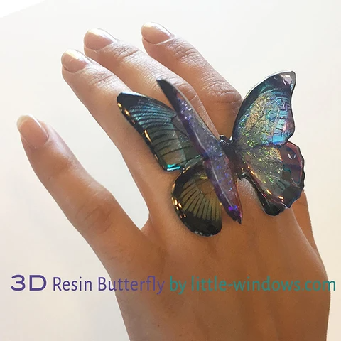 resin jewelry butterfly Clear Photo Film dichroish 3D Ring