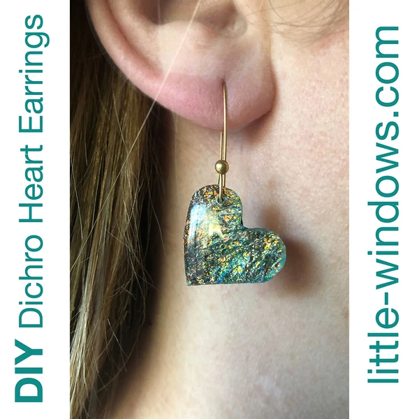 resin jewelry earring doming heart texture film green blue