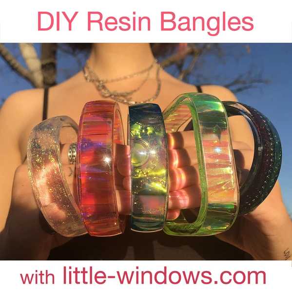 resin jewelry cast bangle bracelets with dichro films embossed