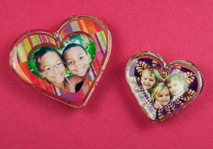 resin casting heart photo punch jewelry