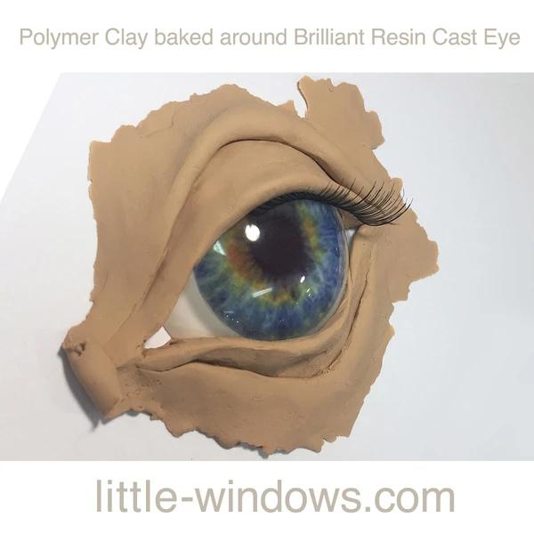resin casting eye baked in polymer clay