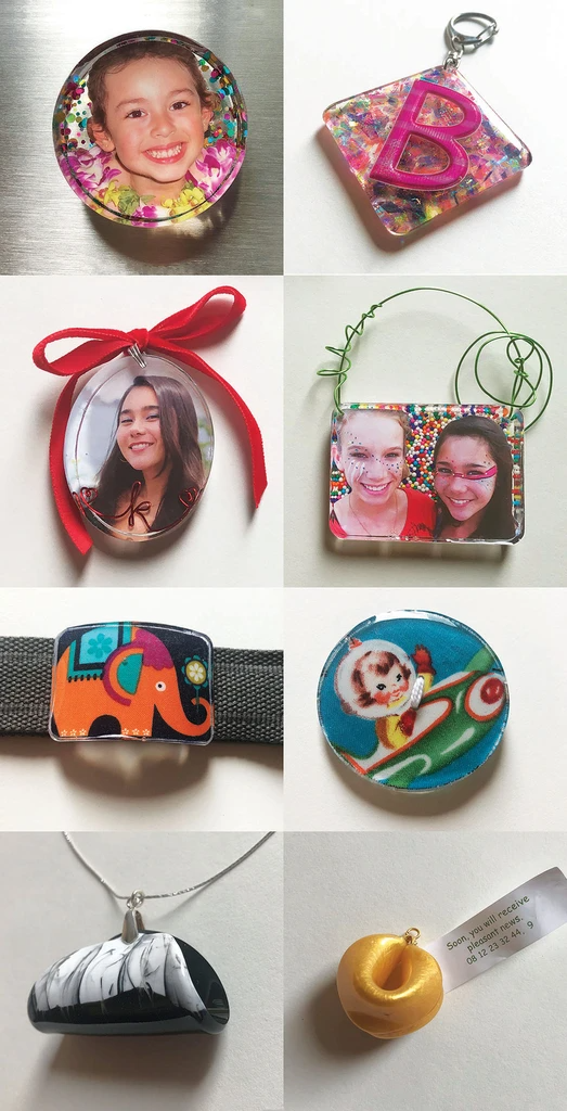 resin tutorial ornaments keychains fabric