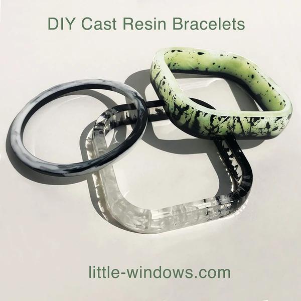resin casting bangle bracelets black and white glow in the dark