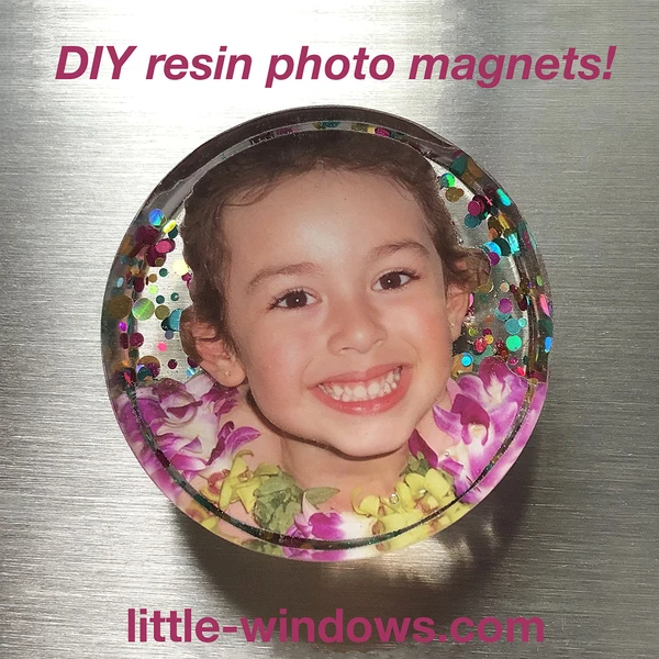 resin cast photo magnet large circle mold giltter