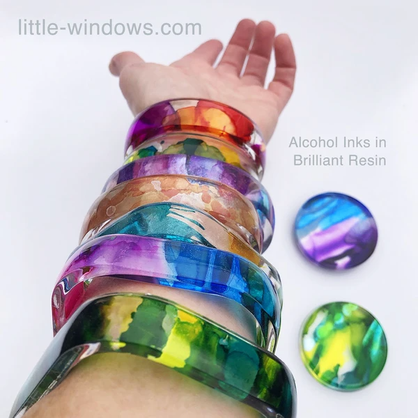 resin casting little windows alcohol inks bangle bracelets