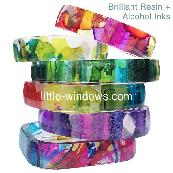 resin casting alcohol inks bangle bracelets