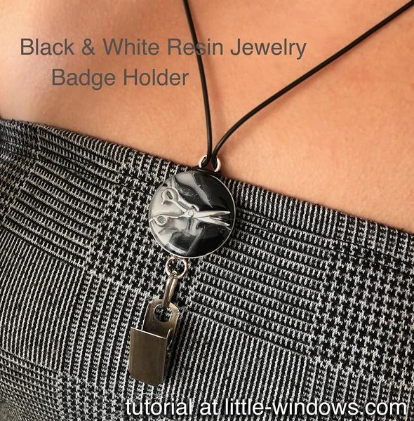 resin craft badge holder black white bezel art resin