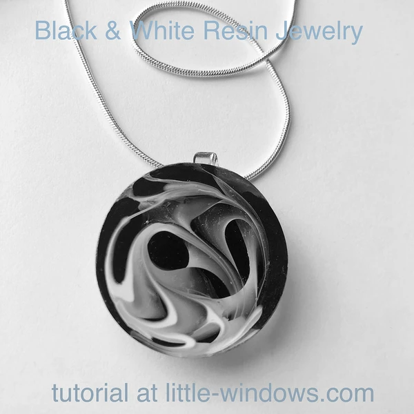 resin jewelry making black and white necklace