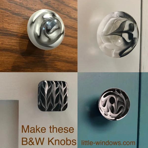 resin craft jewelry black white knobs pulls art resin