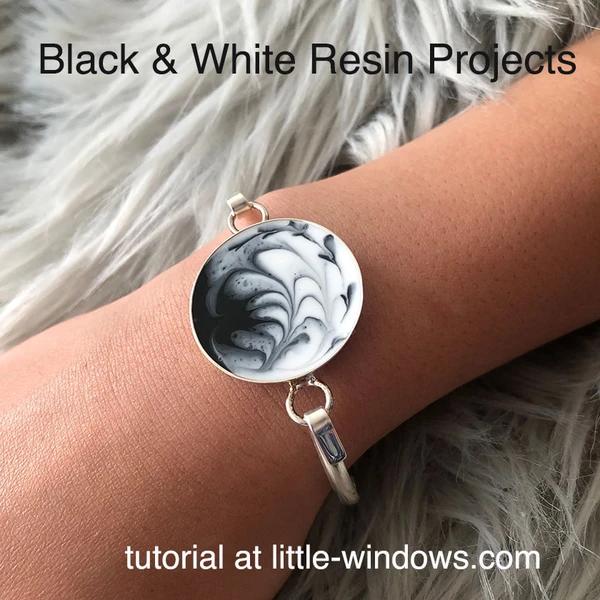 resin craft jewelry black white bezel love art resin marbled