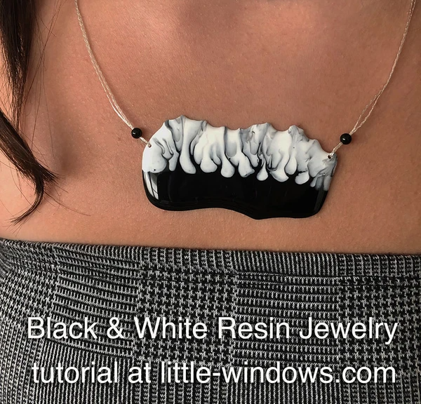 resin craft jewelry black white spooky trees art resin