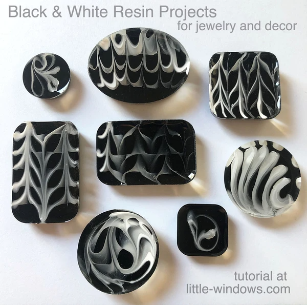 resin crafting jewelry cast black with white stripes