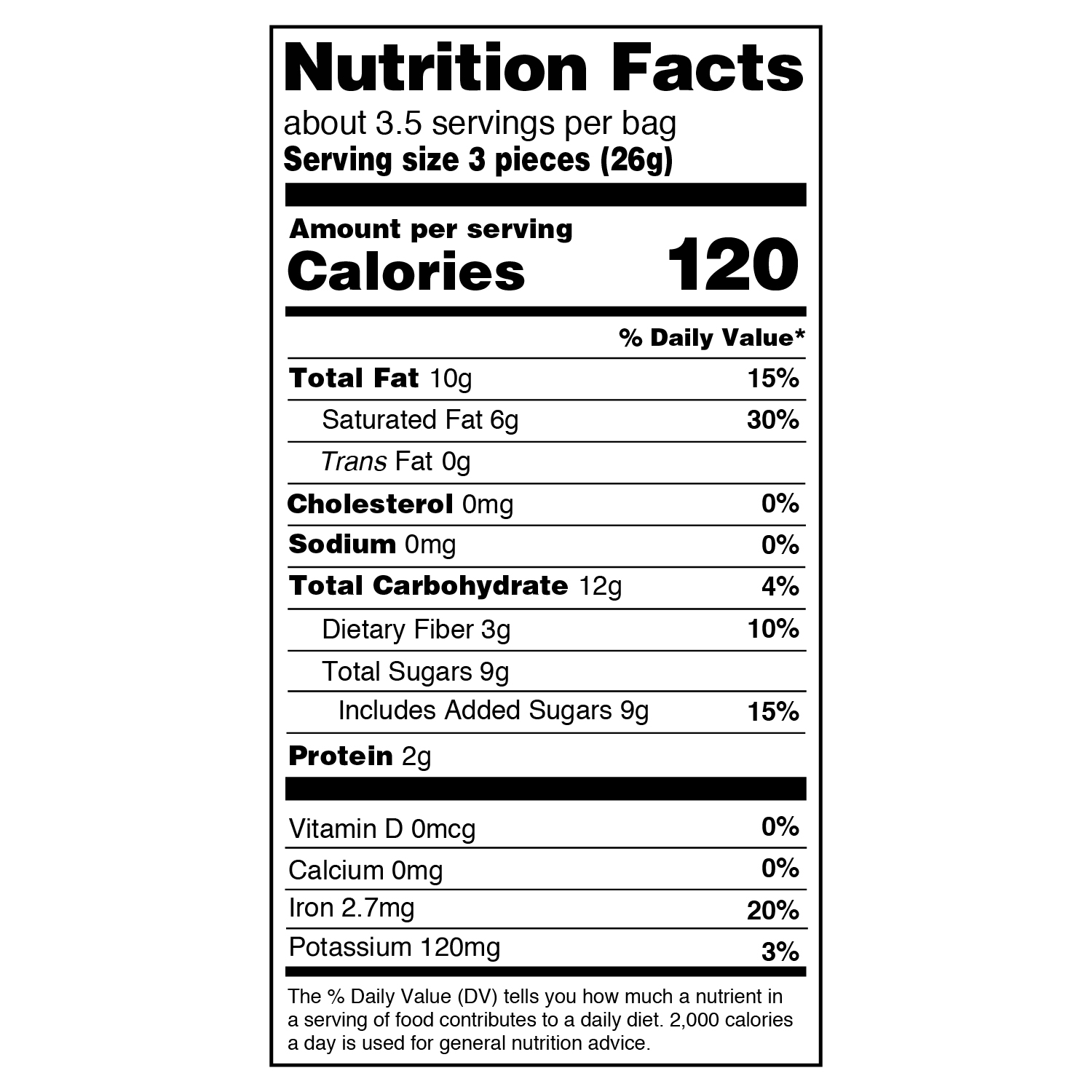 peppermint 3.26 oz nutritional information