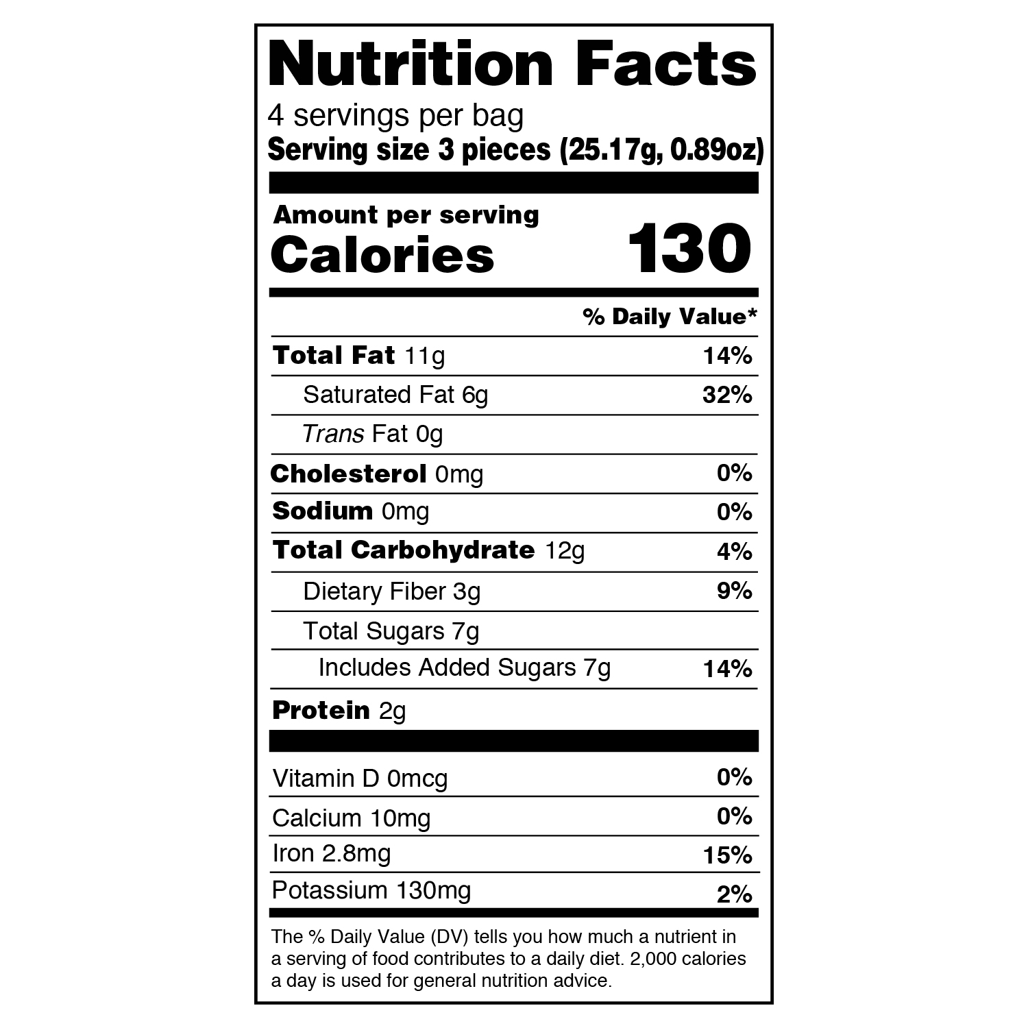 original 3.55 oz nutritional information