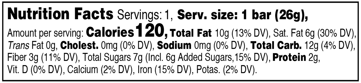 tart cherry individually wrapped nutritional information