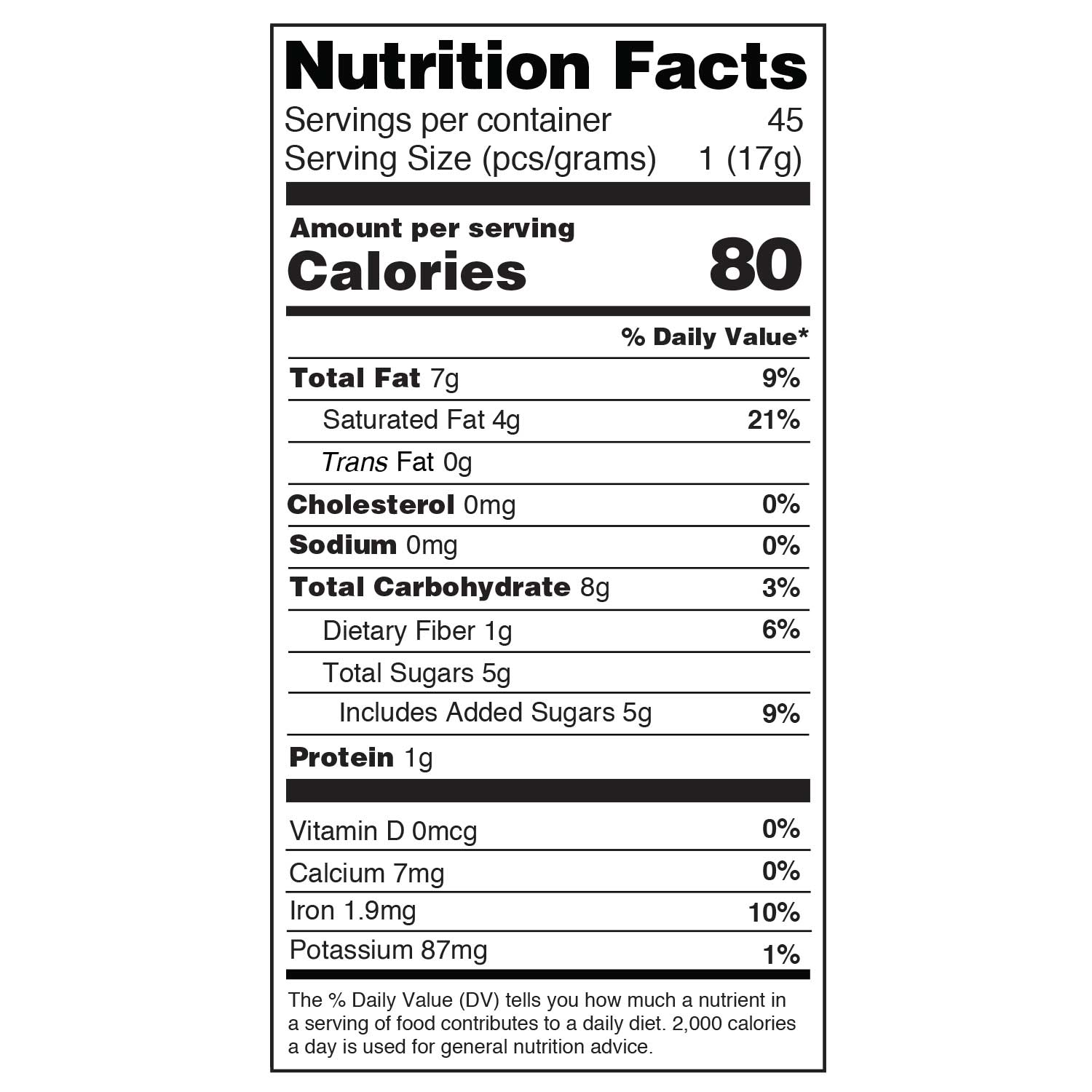 Blueberry 17g daily dose nutritional information