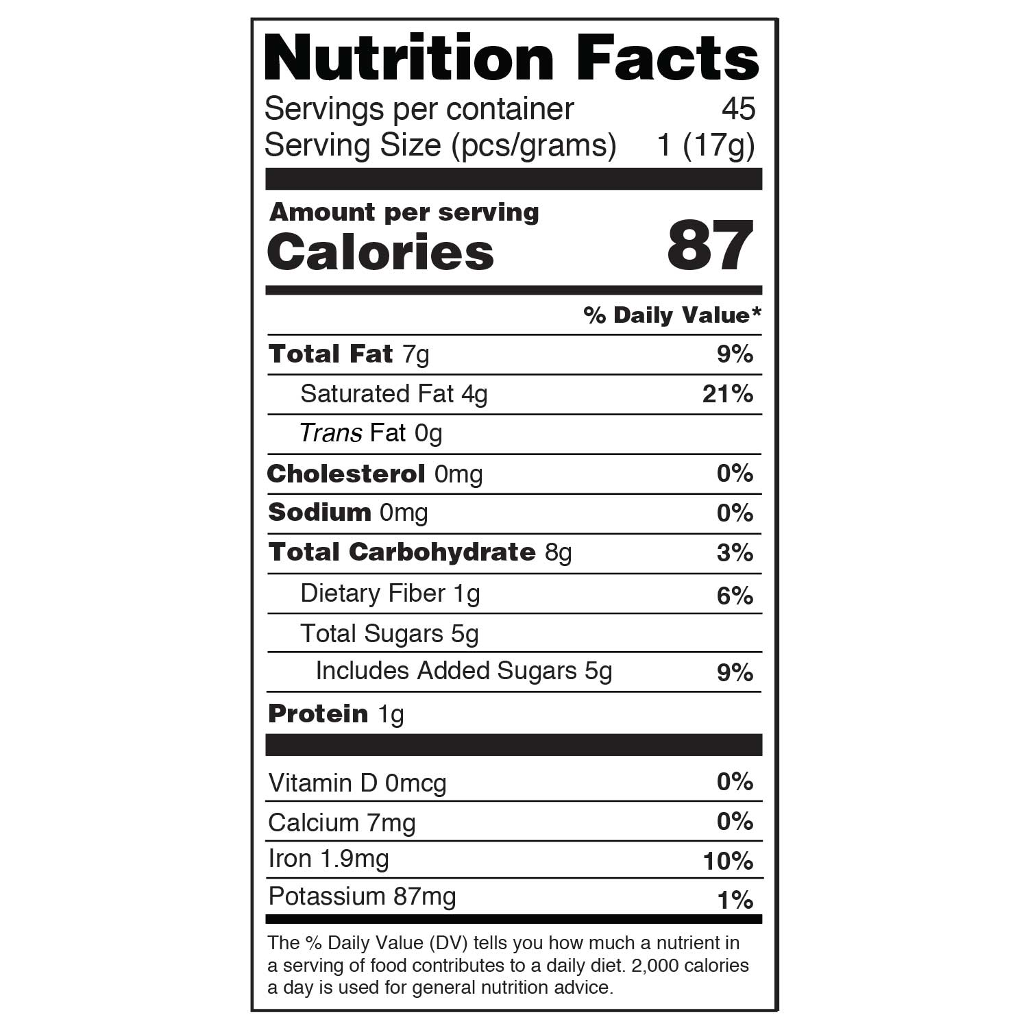 original 17g daily dose nutritional information