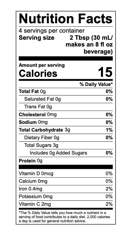 Olena Turmeric Nutritional Label