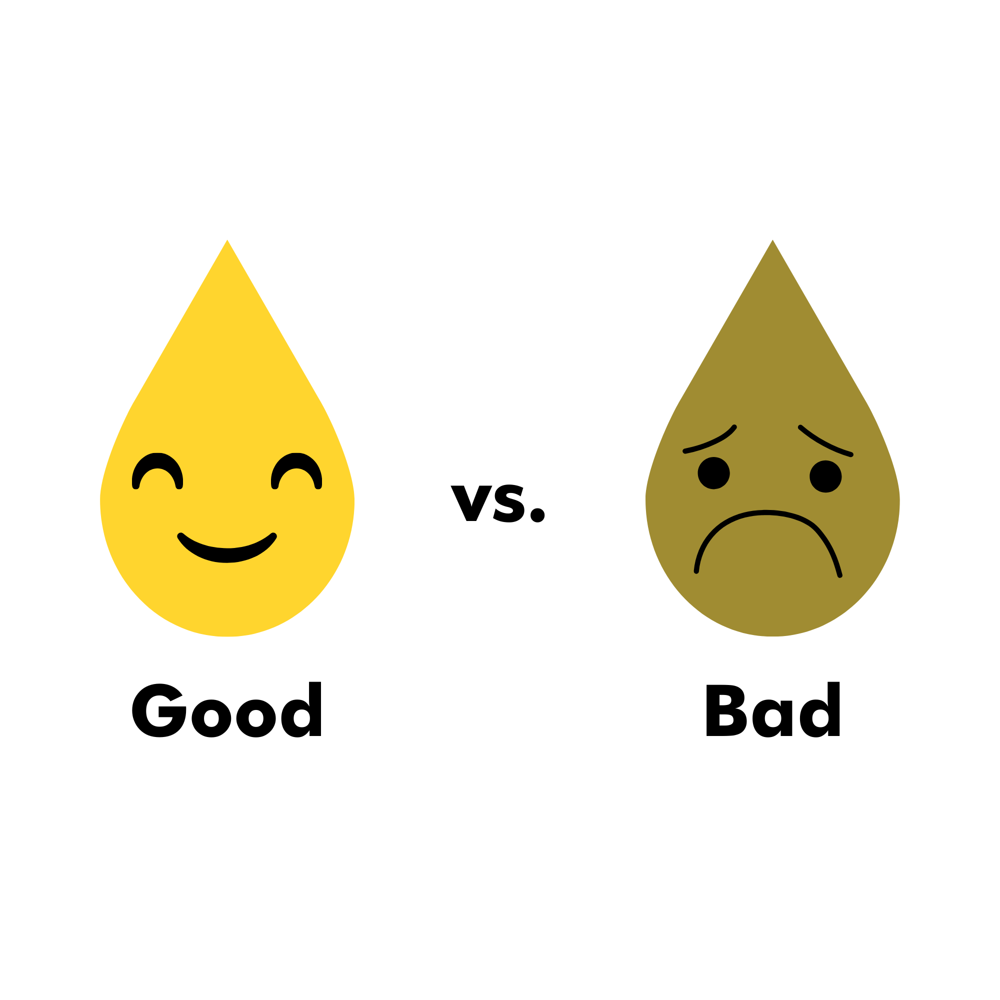 Graphic image showing two sweat drops, one happy sweat drop and one sad sweat drop with text captions. The happy sweat drop is good sweat and the sad sweat drop is bad sweat.