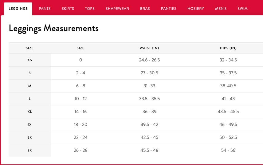Leggings Measurements