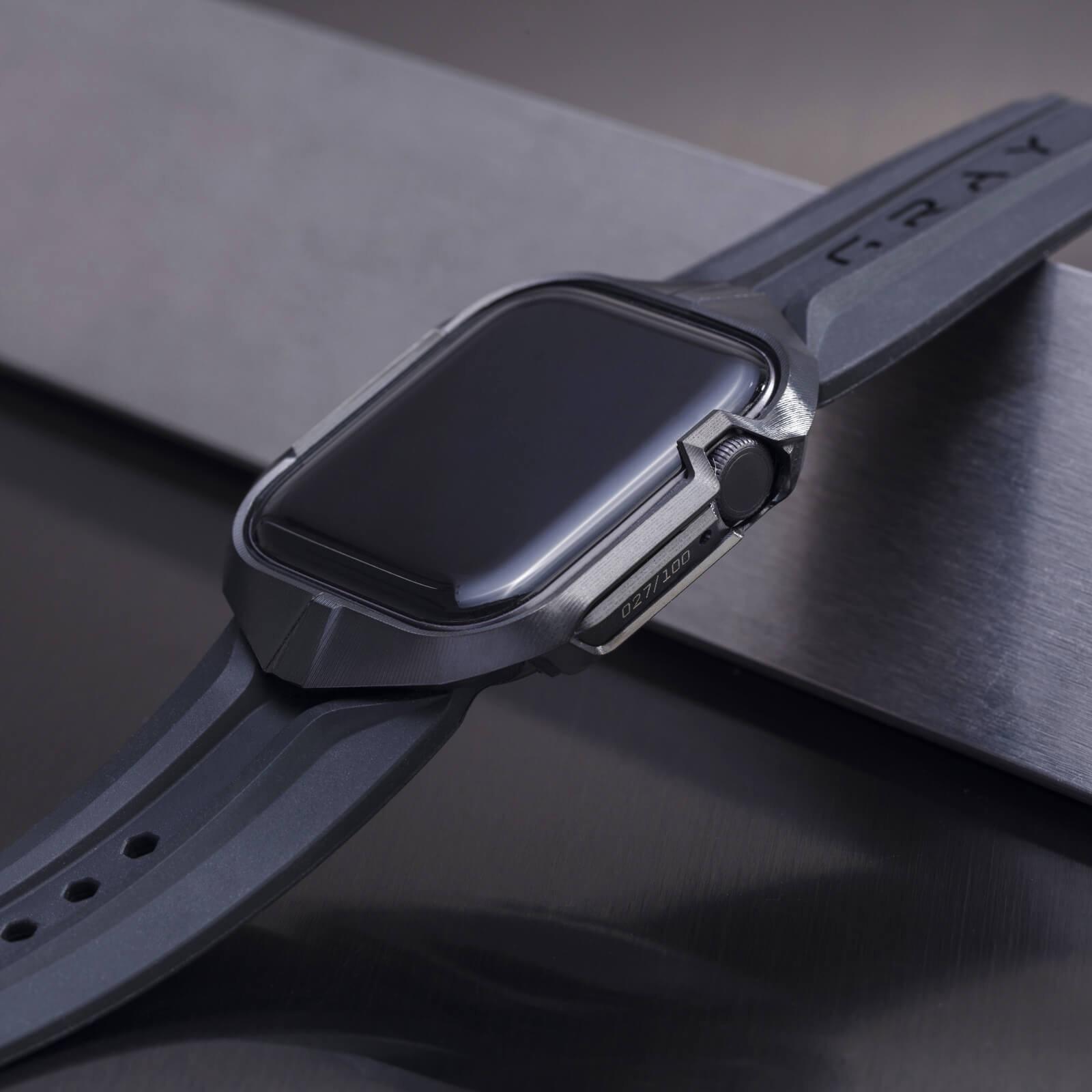 cyber watch stealth, luxury designer titanium black metal apple watch case