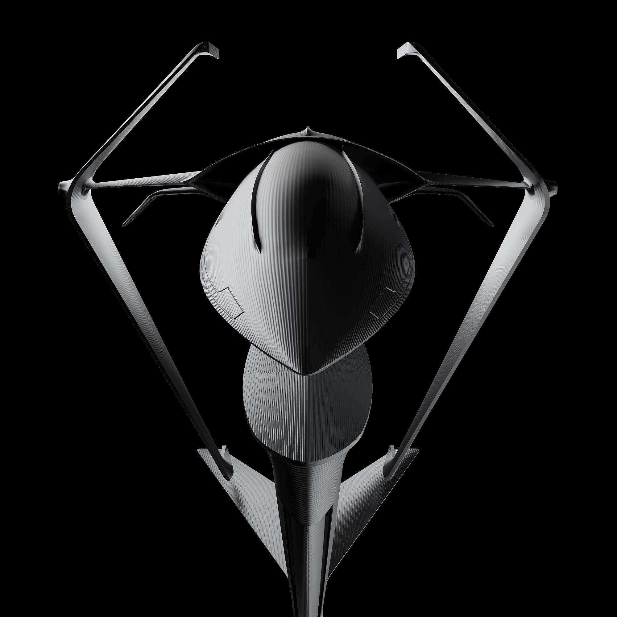 graycraft1-2 stealth black aluminium spaceship sculpture