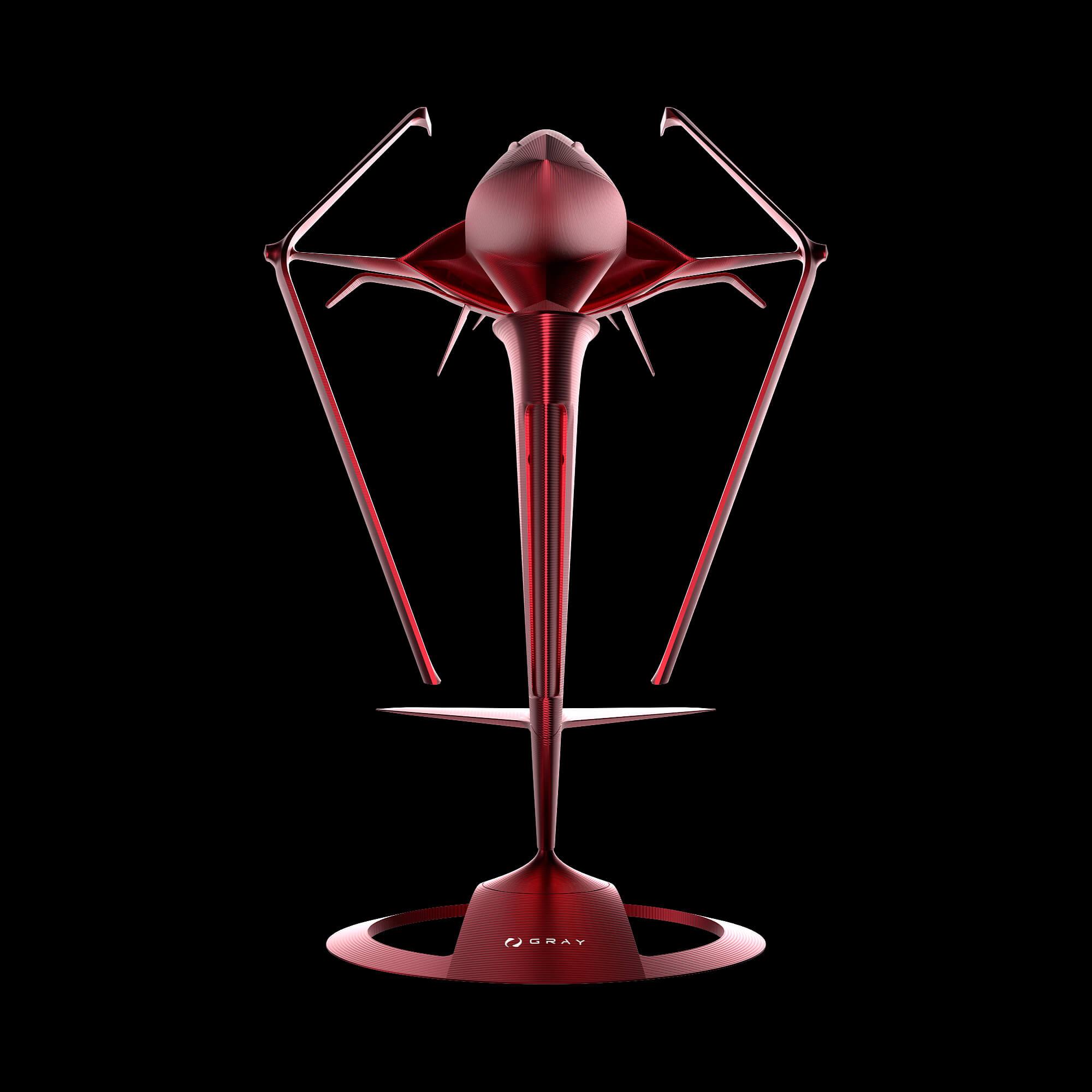 graycraft1-4 pulsar red aluminium spaceship art sculpture
