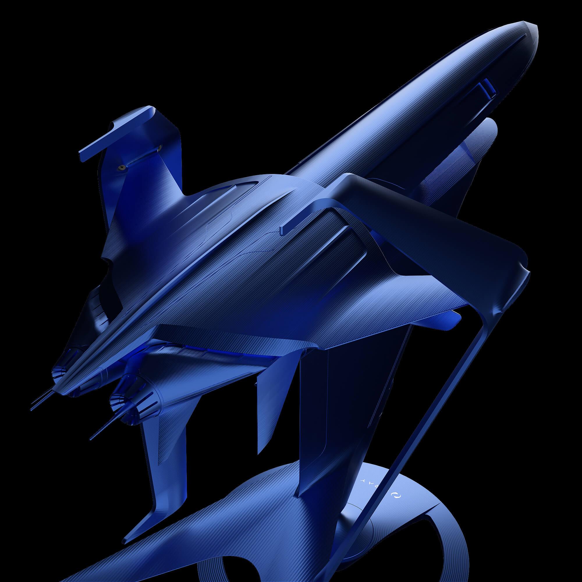 graycraft1-3 blue aluminium spaceship art sculpture
