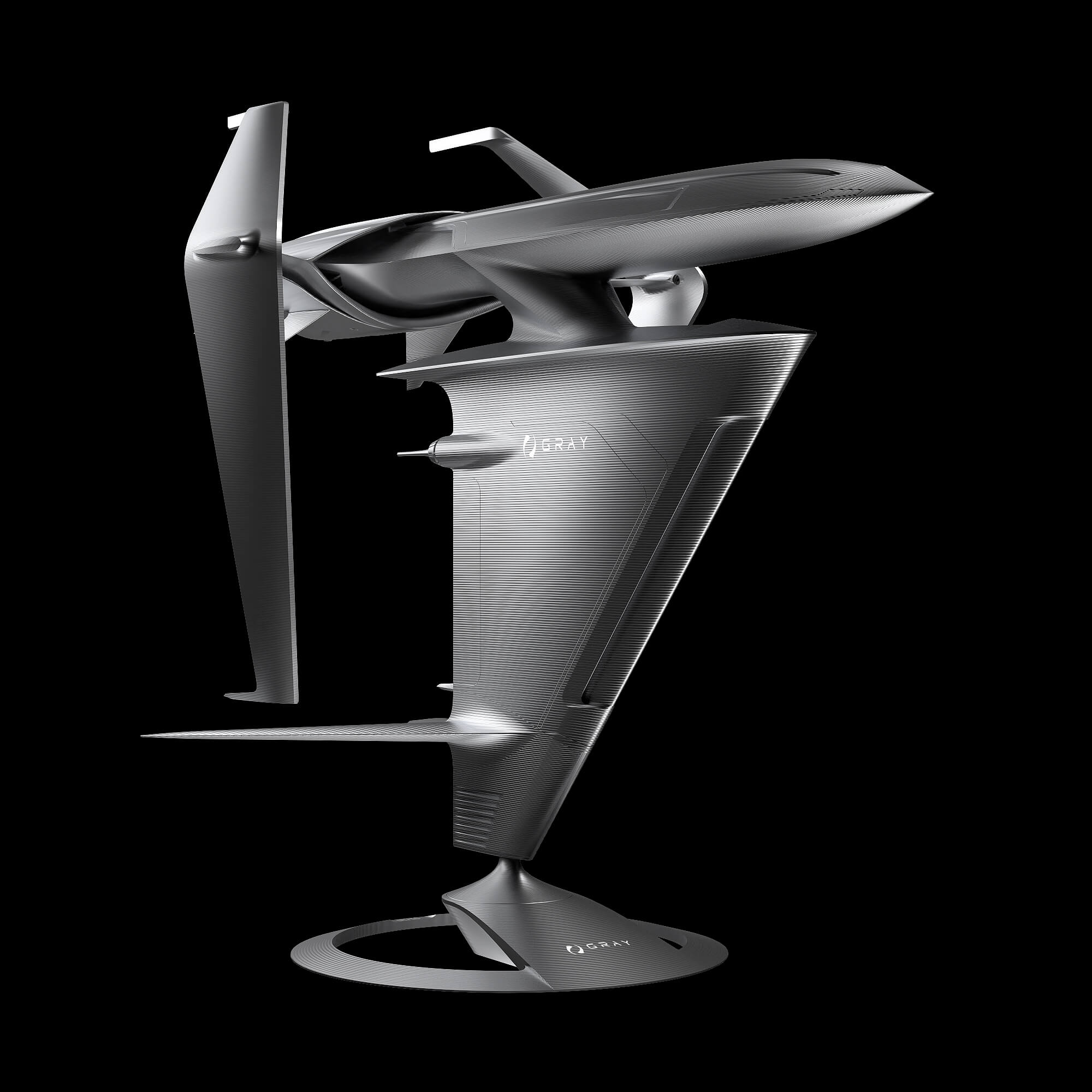 graycraft1-1 space gray aluminium spaceship art sculpture