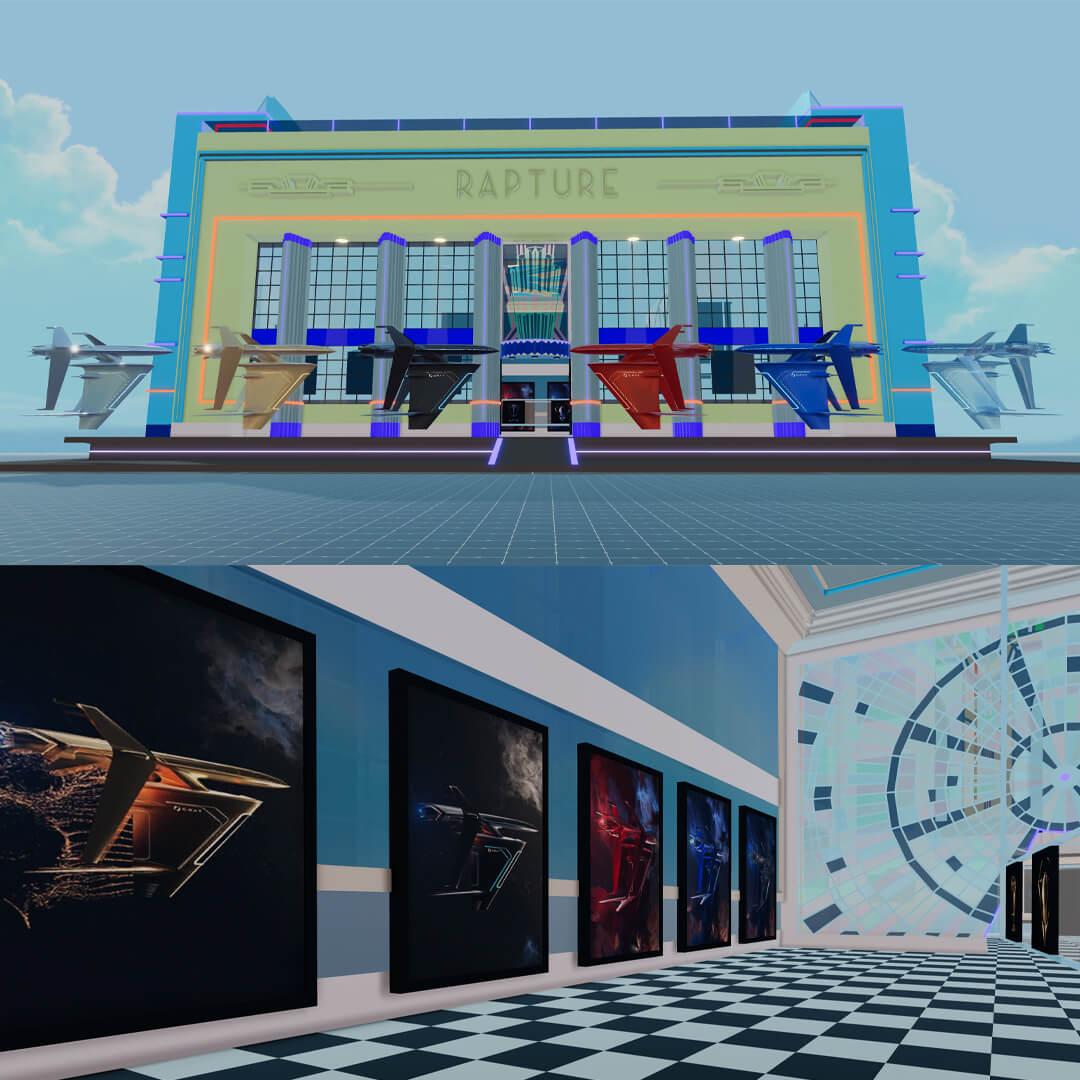 graycraft exhibition in rapture gallery decentraland