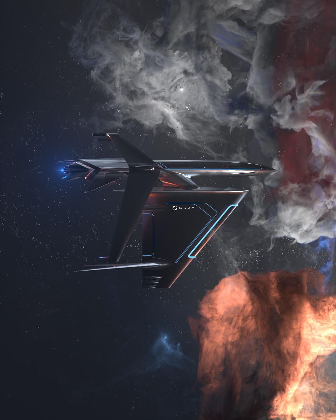 graycraft1-2 NFT black spaceship