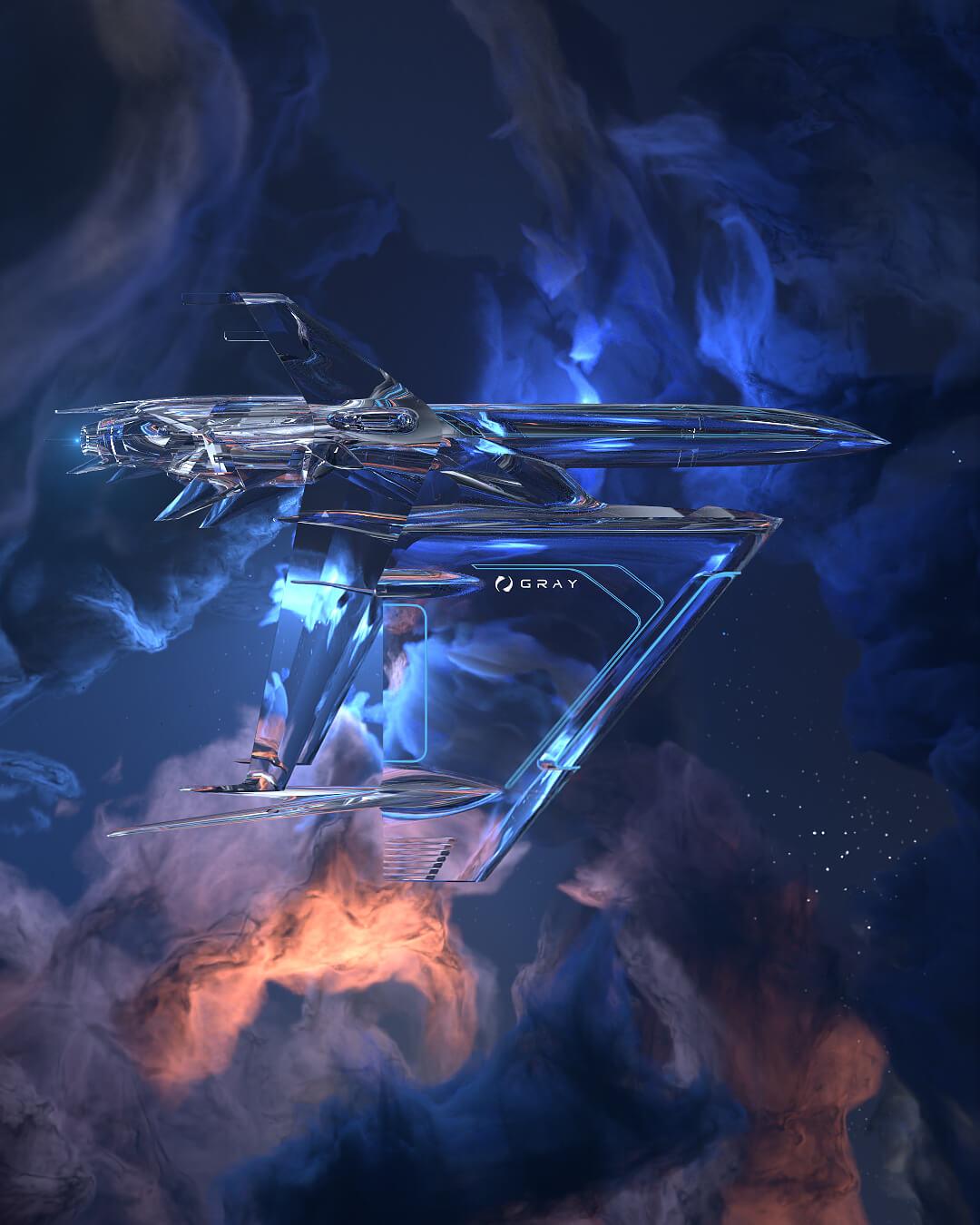 graycraft1-6 crystal spaceship NFT animation
