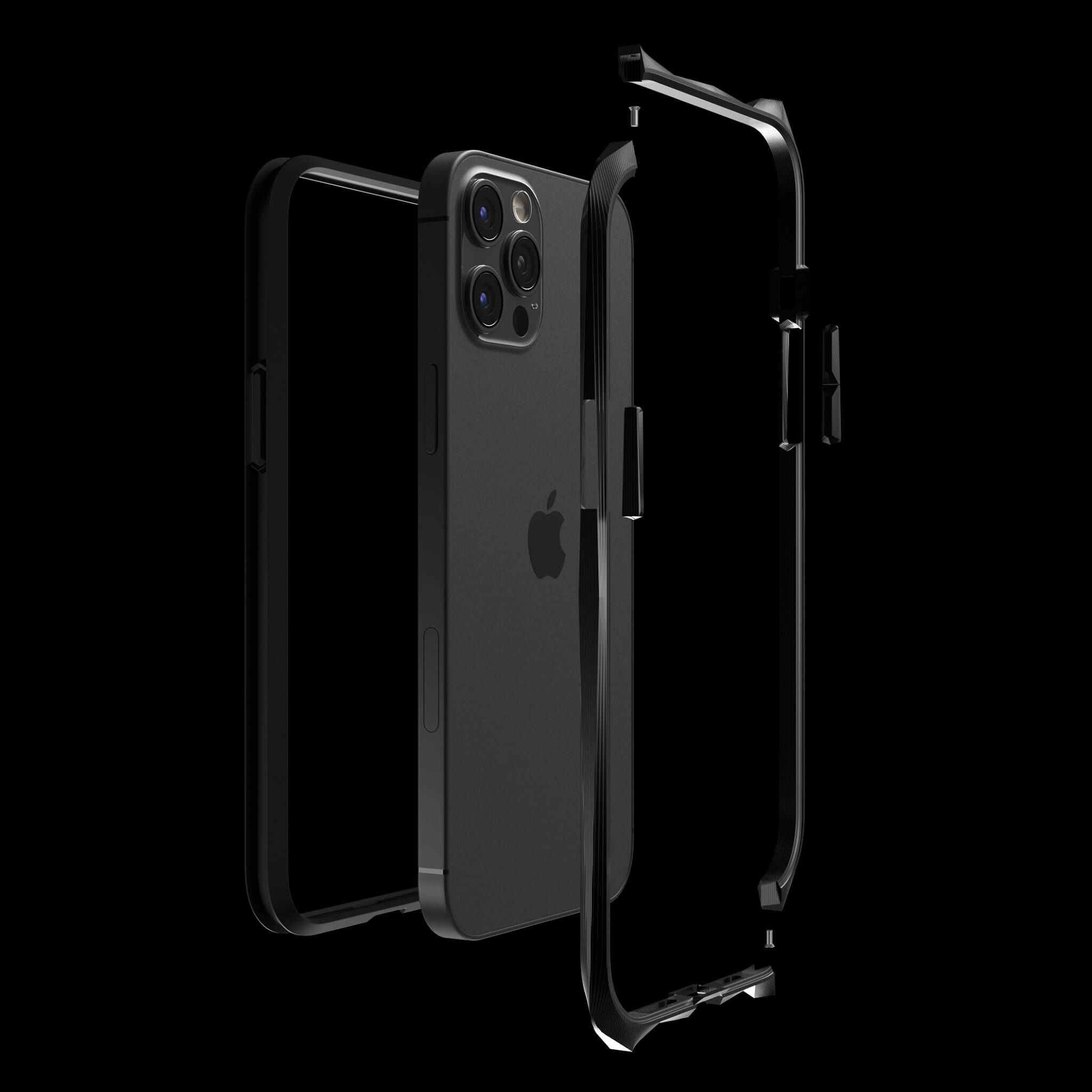 advent stealth black pvd coated luxury titanium iphone 12 pro case