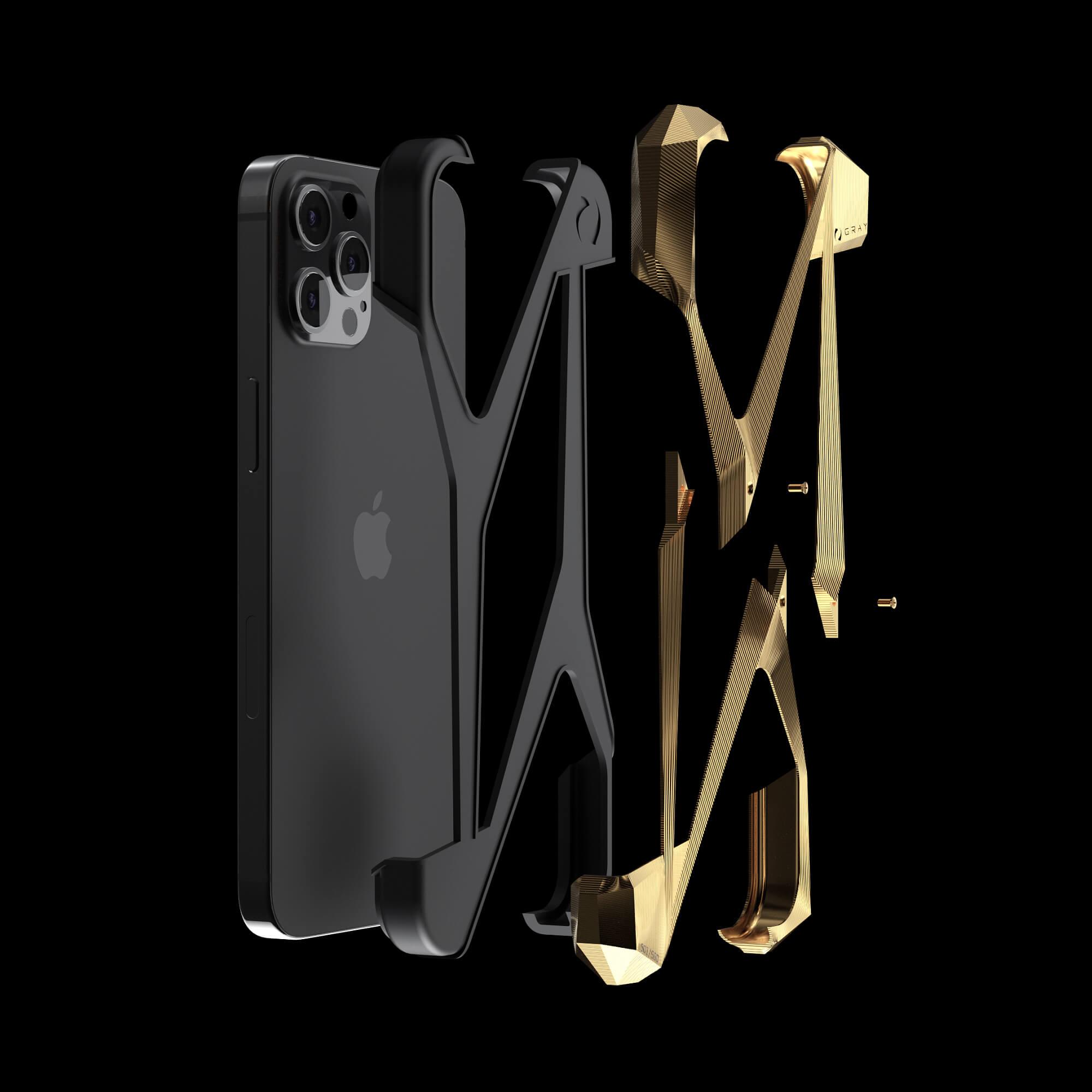 alter ego gold pvd titanium metal designer iPhone 12 pro case