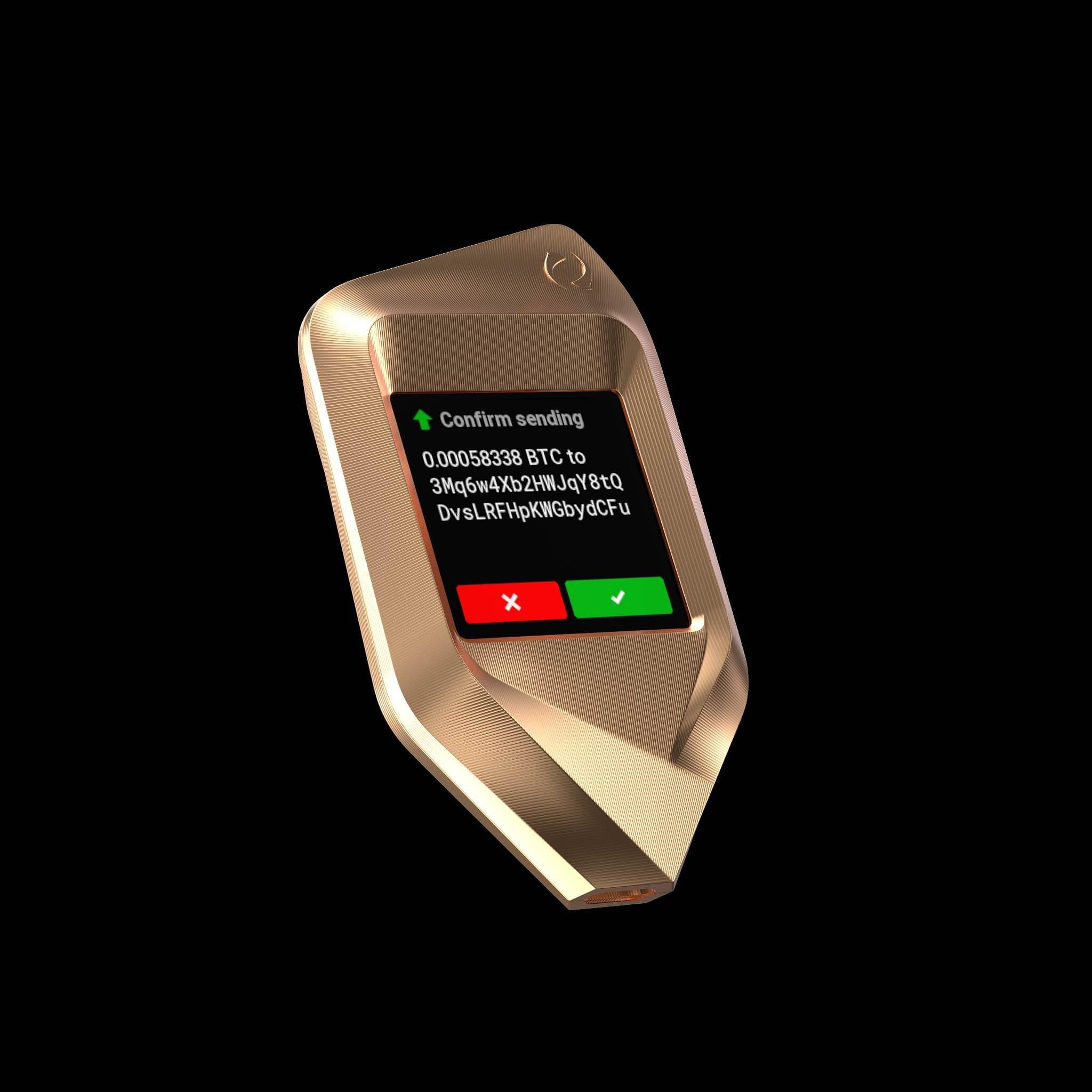 corazon rose gold titanium trezor bitcoin crypto hardware wallet