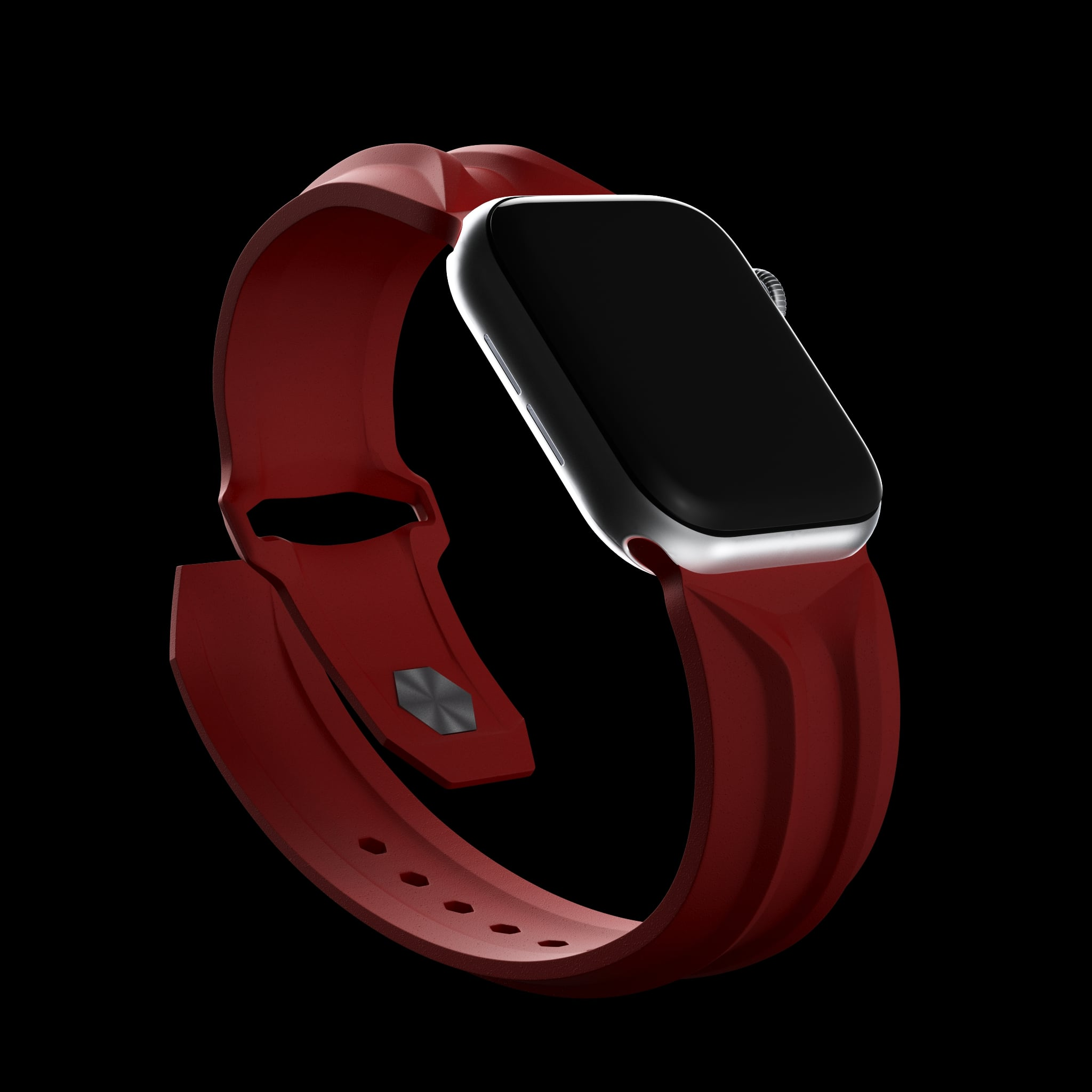red cyber apple watch band