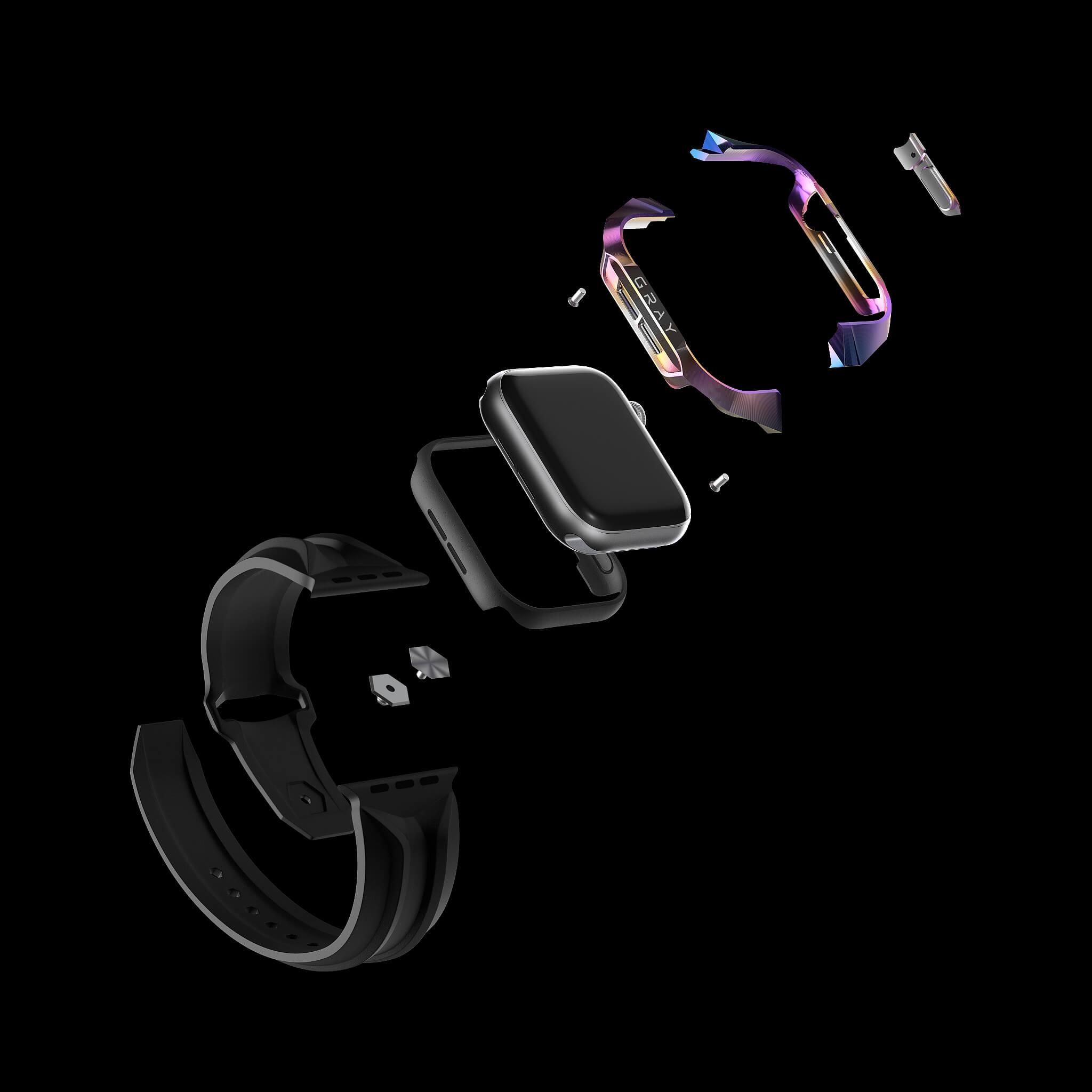cyber watch aurora, luxury designer titanium metal apple watch case