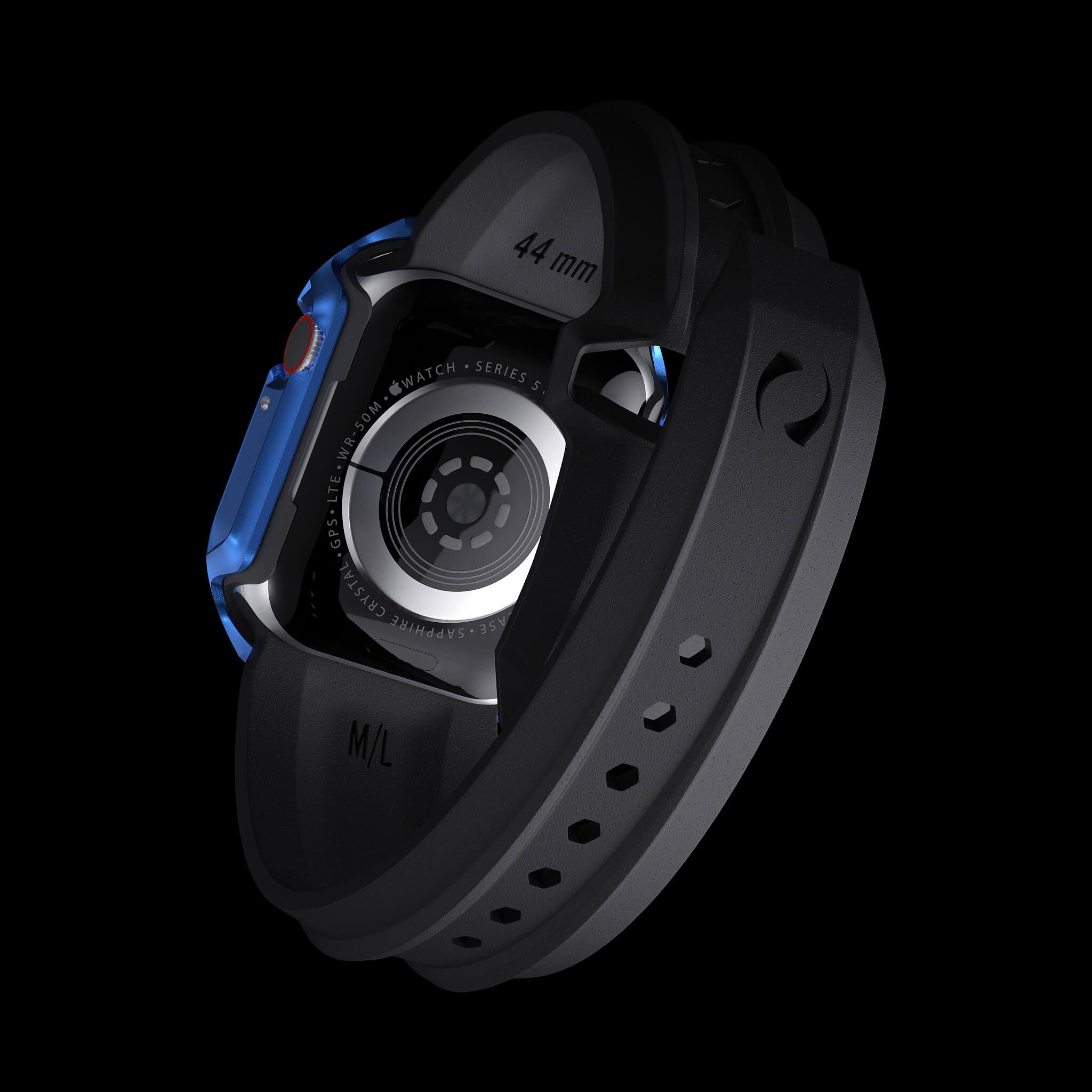 cyber watch galactic blue, luxury designer aluminium metal apple watch case