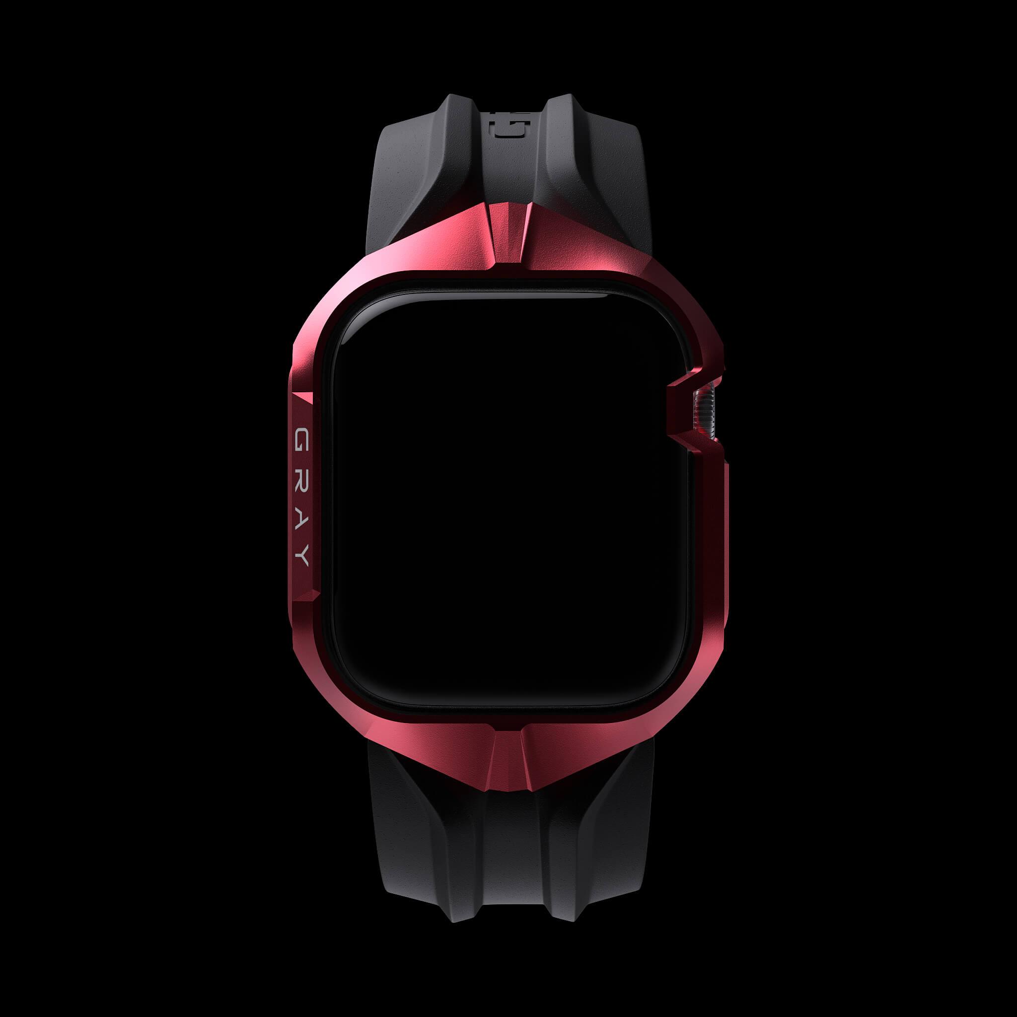 cyber watch pulsar red, luxury designer aluminium metal apple watch case