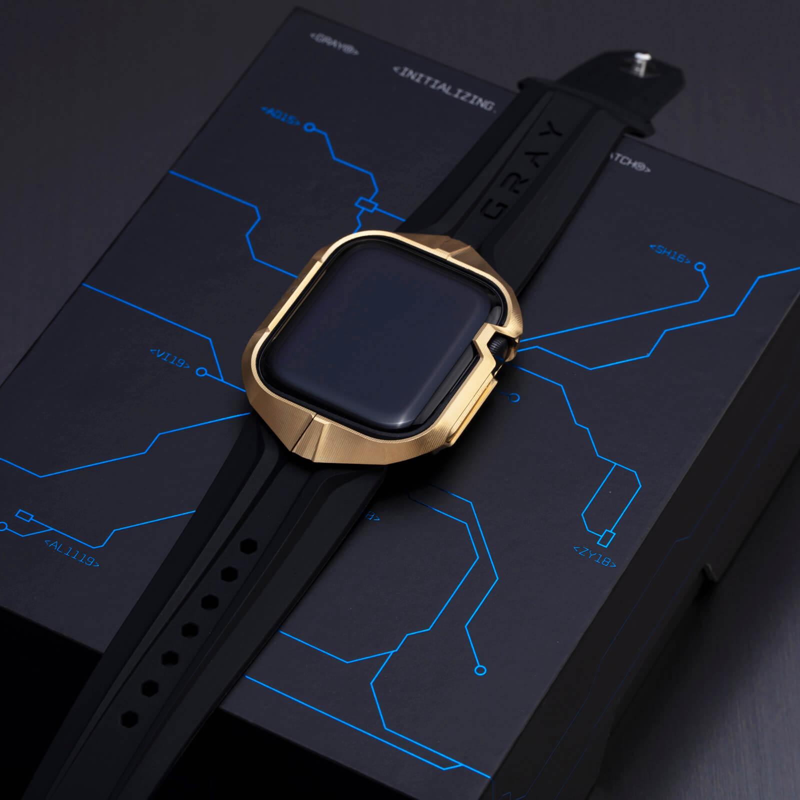 cyber watch gold, luxury designer titanium metal apple watch case