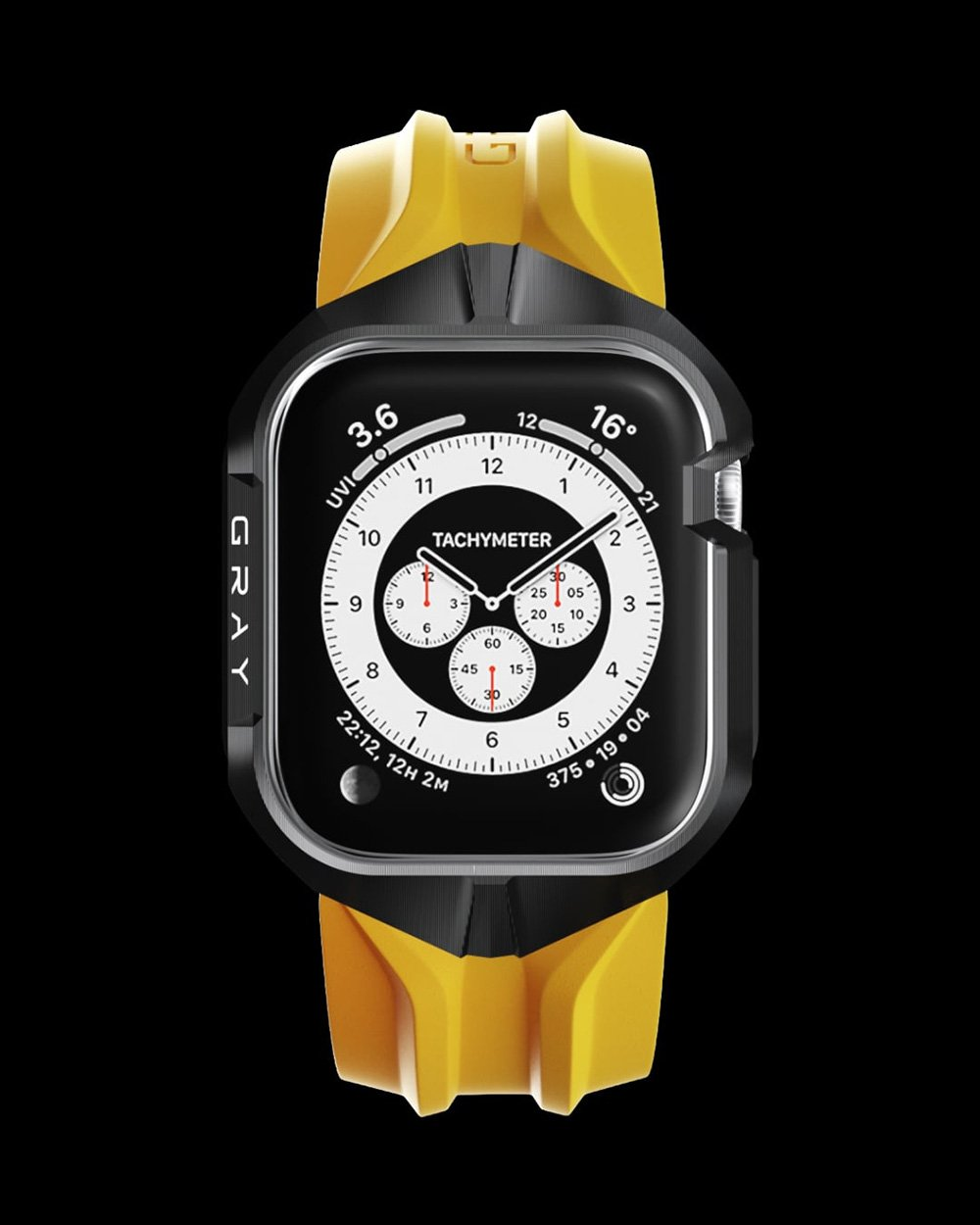 Yellow and Black Cyberwatch Case on Apple Watch