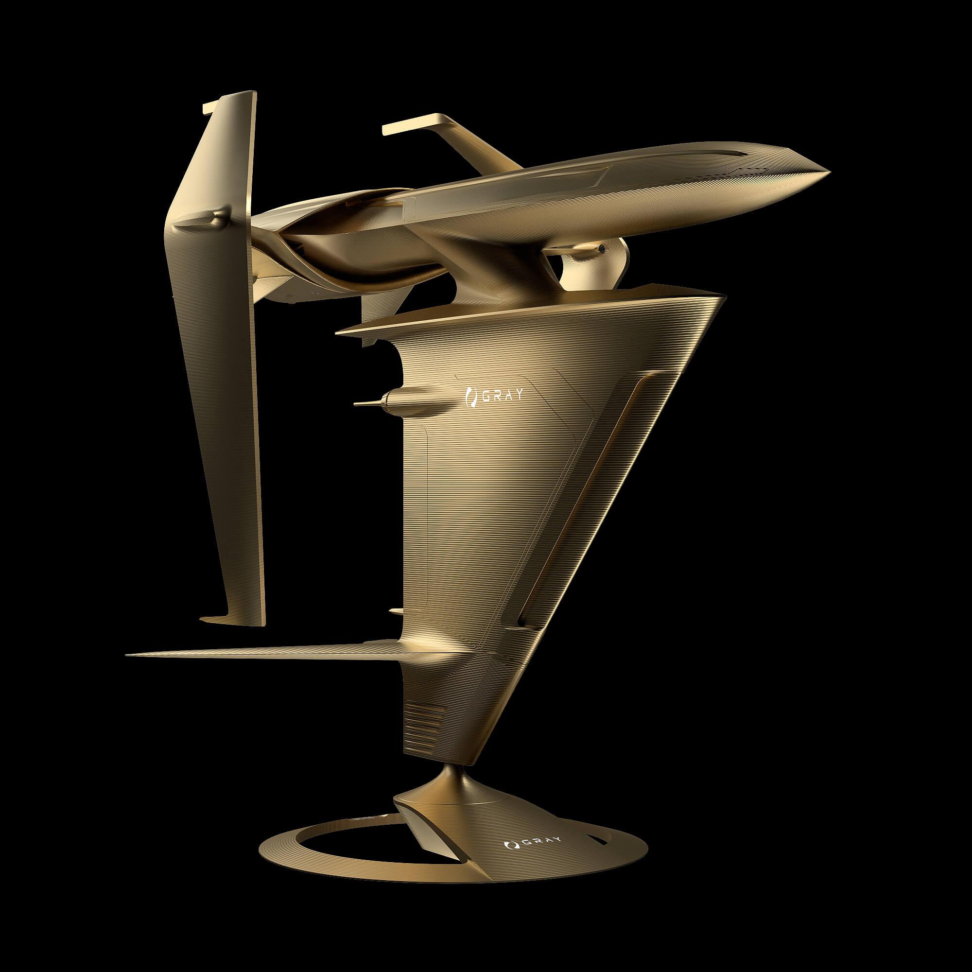 graycraft1-3 gold aluminium spaceship sculpture