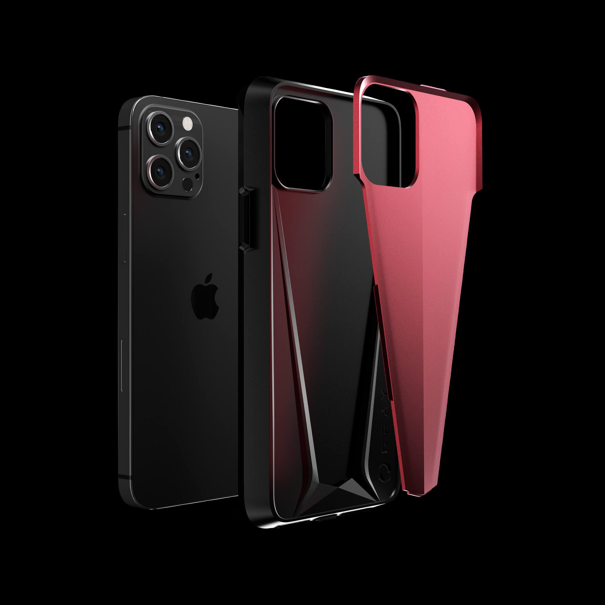 morpheus pulsar red aluminium metal luxury iPhone 12 pro case