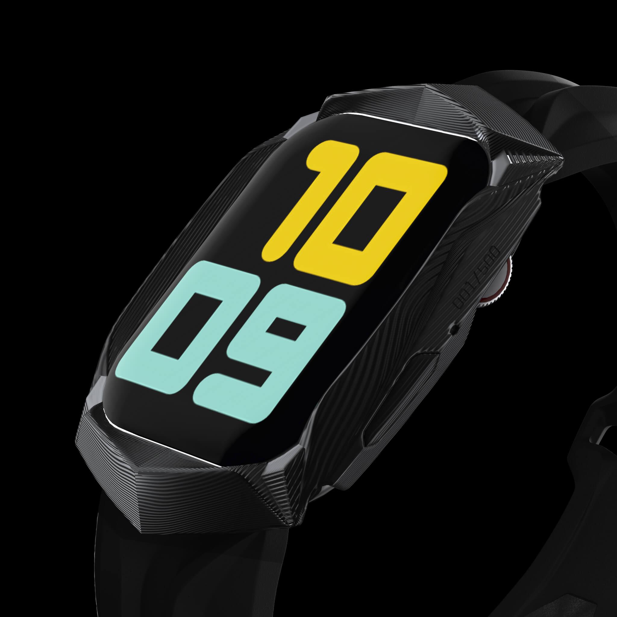 black carbon fiber carbodyne apple watch case