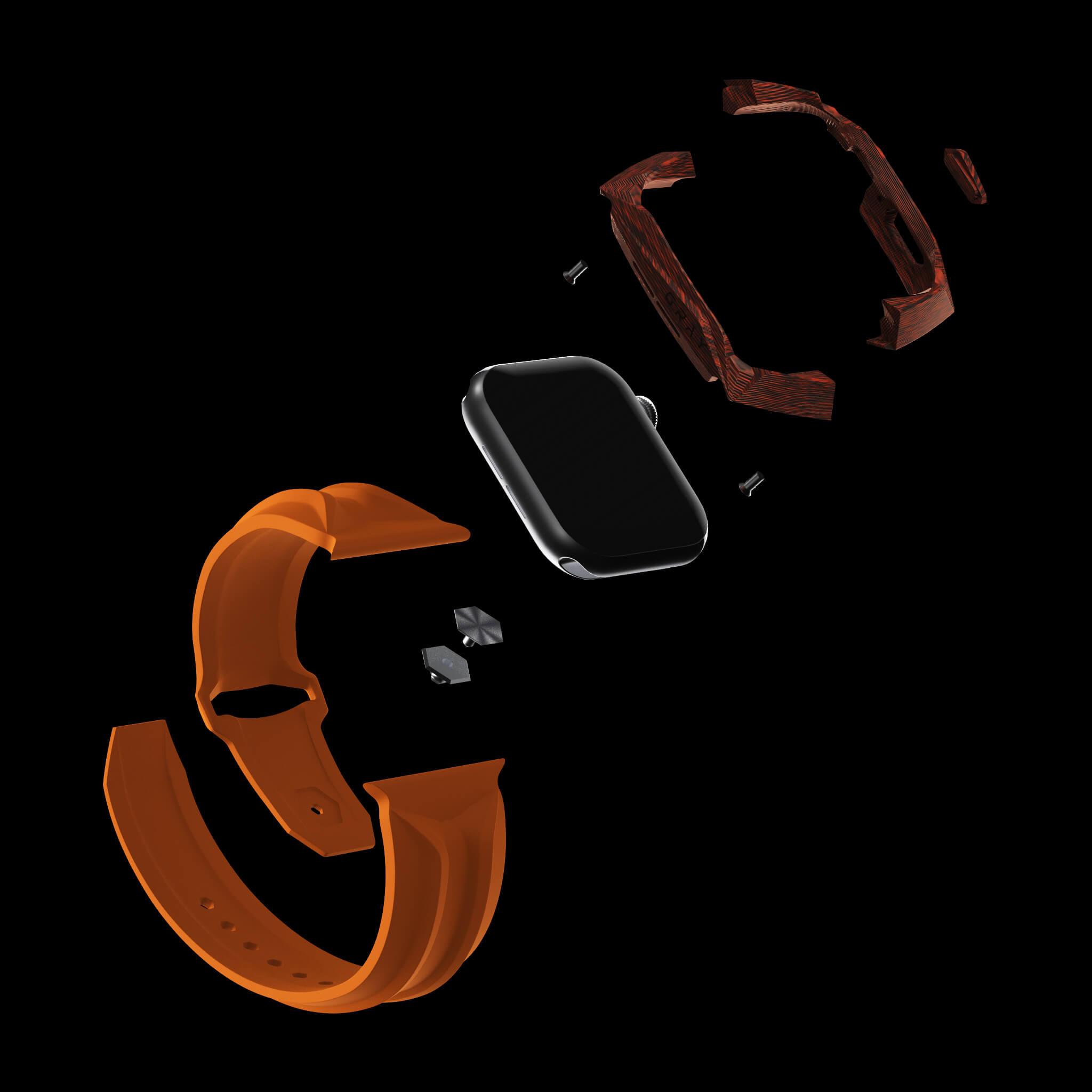 orange carbon fiber carbodyne apple watch case