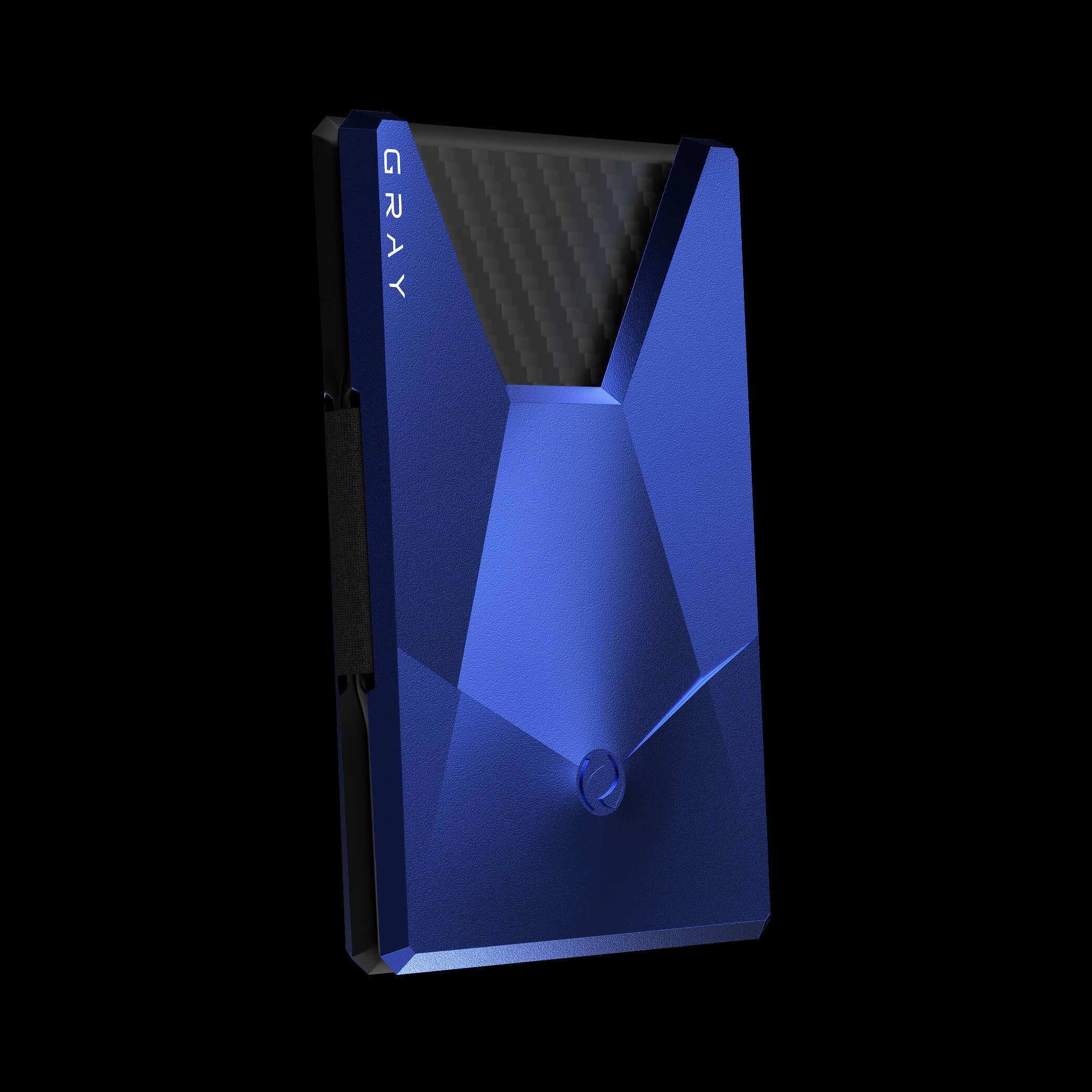 vandium galactic blue luxury designer aluminium metal card wallet