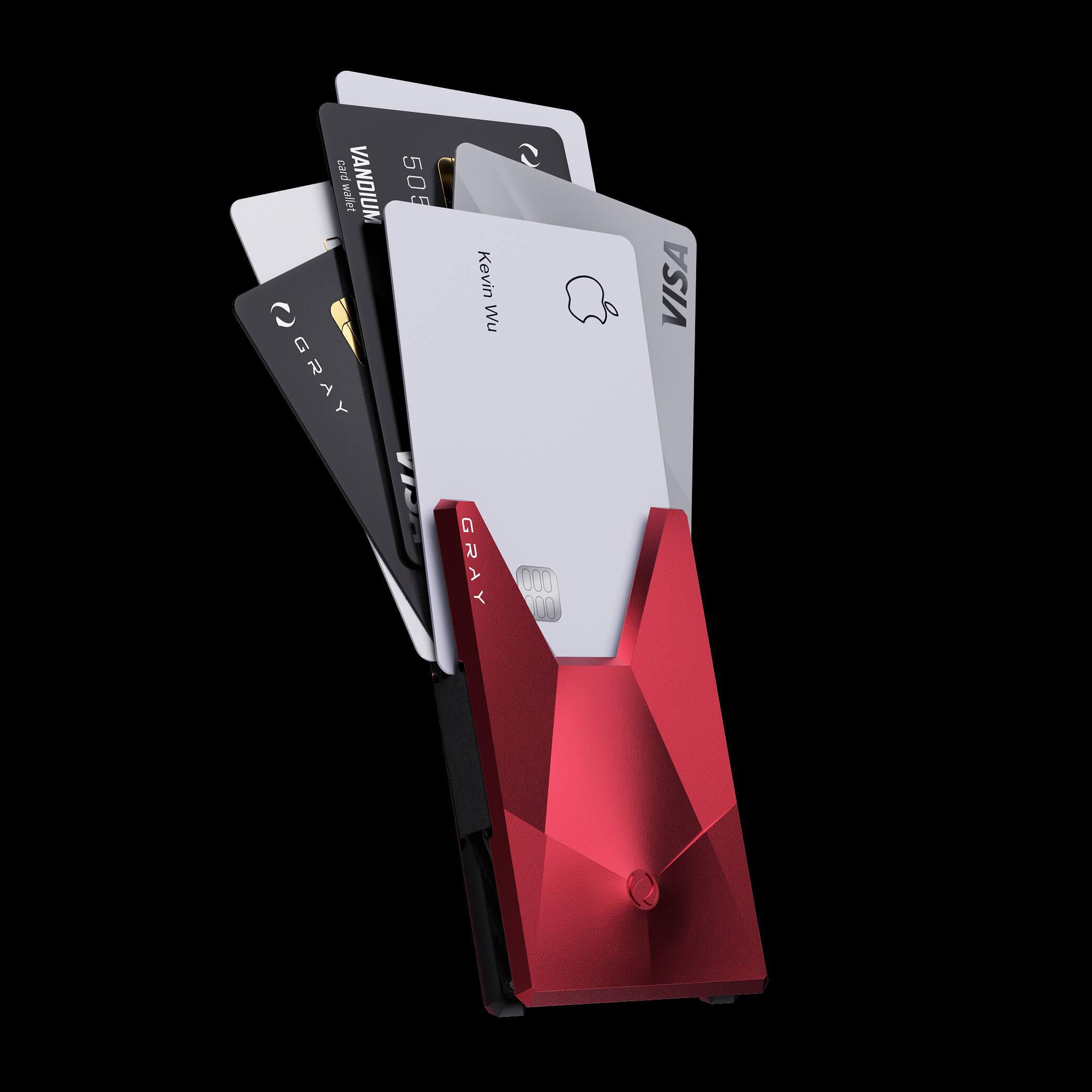 vandium pulsar red luxury designer aluminium metal card wallet
